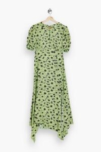 TOPSHOP Green Daisy Print Ruched Sleeve Midi Dress ~ handkerchief hemline dresses