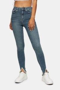Topshop Green Jamie Skinny Jeans | split hem skinnies