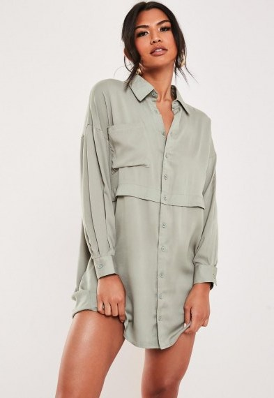 Missguided green oversized utility shirt dress – utilitarian inspired fashion - flipped