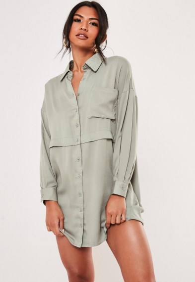 Missguided green oversized utility shirt dress – utilitarian inspired fashion