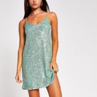 RIVER ISLAND Green sequin slip dress – glittering cami dresses