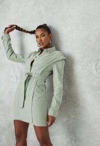MISSGUIDED green shoulder lipped denim shirt dress ~ casual tie waist dresses