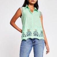 RIVER ISLAND Green Ss Broderie Trim Shirt – short sleeve cut out shirts