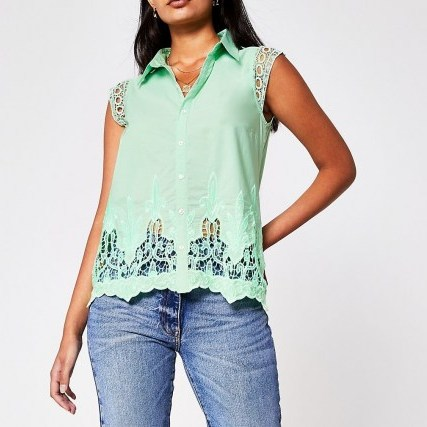 RIVER ISLAND Green Ss Broderie Trim Shirt – short sleeve cut out shirts - flipped