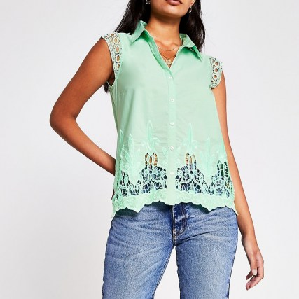 RIVER ISLAND Green Ss Broderie Trim Shirt – short sleeve cut out shirts