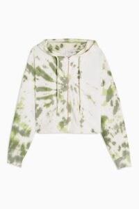 TOPSHOP Green Tie Dye Lettuce Hoodie / zip up hoodies / casual tops / weekend fashion / hooded top