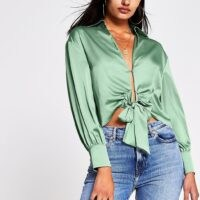 RIVER ISLAND RIVER ISLAND Green Tie Front Shirt – plunging satin look shirts – open detail blouse