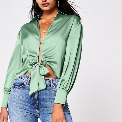 RIVER ISLAND RIVER ISLAND Green Tie Front Shirt – plunging satin look shirts – open detail blouse - flipped