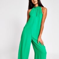 RIVER ISLAND Green Tie Neck Jumpsuit – sleeveless jumpsuits