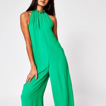 RIVER ISLAND Green Tie Neck Jumpsuit – sleeveless jumpsuits - flipped