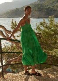 Whistles TRAPEZE COTTON VOILE DRESS in Green – thin strap summer dresses