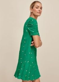 Whistles ROMANTIC FLORAL GEORGINA DRESS in Green / Multi – pretty ruched sleeve frock