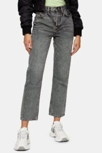 Topshop Grey Editor Straight Jeans | high rise / waist