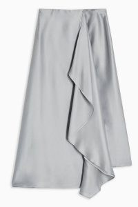 Topshop Boutique Grey Frill Midi Skirt | front ruffle skirts