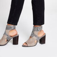 RIVER ISLAND Grey snake printed cut out shoe boots ~ peep toe booties