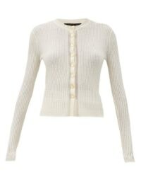 PROENZA SCHOULER Hammered-button wool-blend cardigan in ivory ~ fitted rib knit cardigans