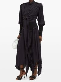 PROENZA SCHOULER Handkerchief-hem crepe dress in navy ~ handkerchief hemline dresses