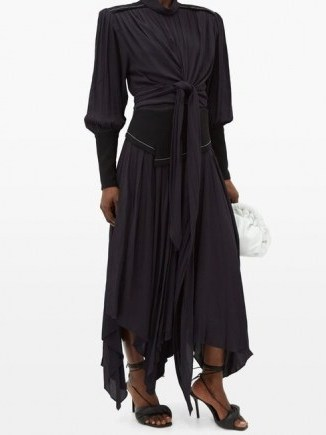 PROENZA SCHOULER Handkerchief-hem crepe dress in navy ~ handkerchief hemline dresses - flipped