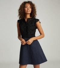 REISS HAZEL RUFFLE DETAILED MINI DRESS NAVY/BLACK ~ feminine cocktail dresses