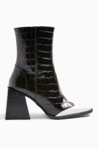 TOPSHOP HEAVEN Leather Black And White Block Boots Monochrome ~ croc embossed ~ flared block heel boot ~ chunky heels
