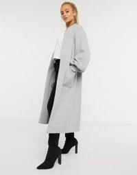 Helene Berman wool blend edge to edge balloon sleeve coat in grey 01 ~ longline open front coats