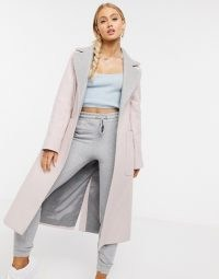 Helene Berman wool blend Long Ruth double faced coat in light pink / grey ~ longline open front coats