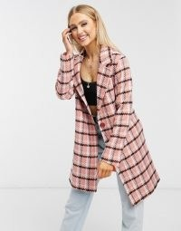Helene Berman wool blend Short Ruth coat in pink check ~ checked coats