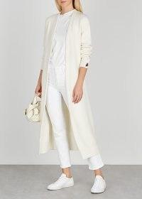 HIGH Plummet ivory fine-knit cardigan / longline tie waist cardigans