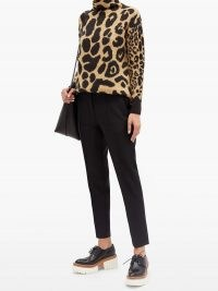 STELLA MCCARTNEY High-neck leopard-print sweater – animal prints – funnel neck sweaters