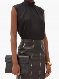 ALEXANDER MCQUEEN High-neck sleeveless silk top in black / effortlessly elegant tops