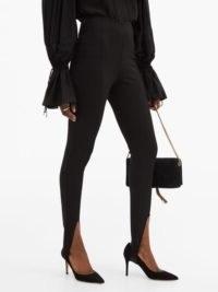 SAINT LAURENT High-rise split-front jersey leggings in black ~ glamorous evening skinnies