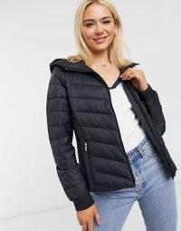 Hollister lightweight puffer jacket in black / hooded padded jackets