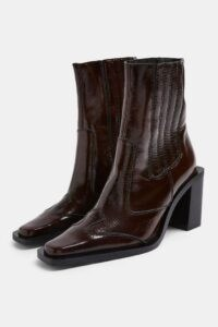 TOPSHOP HONDOURAS Brown Western Leather Boots