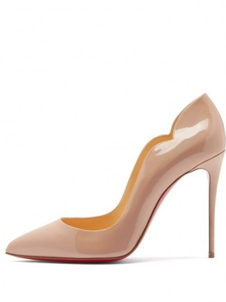 CHRISTIAN LOUBOUTIN Hot Chick 100 patent leather pumps in light pink ~ curved edge courts ~ stiletto heel court shoes ~ glassy high heels - flipped