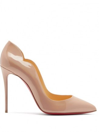 CHRISTIAN LOUBOUTIN Hot Chick 100 patent leather pumps in light pink ~ curved edge courts ~ stiletto heel court shoes ~ glassy high heels