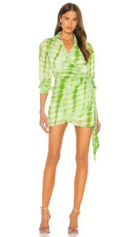 Elsa Hosk green tie dye mini dress, h:ours Jaqi Wrap Dress, on Instagram, 3 August 2020 | models off duty fashion | celebrity style summer dresses