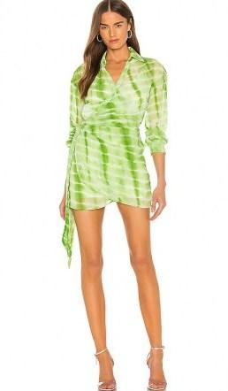 Elsa Hosk green tie dye mini dress, h:ours Jaqi Wrap Dress, on Instagram, 3 August 2020 | models off duty fashion | celebrity style summer dresses - flipped