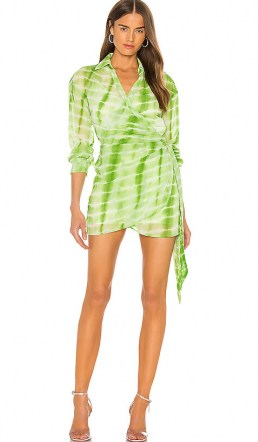 Elsa Hosk green tie dye mini dress, h:ours Jaqi Wrap Dress, on Instagram, 3 August 2020 | models off duty fashion | celebrity style summer dresses