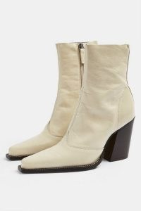 TOPSHOP HUNGARY Ecru Leather Western Boots ~ natural colours