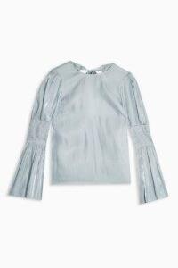 TOPSHOP Ice Blue Liquid Satin Top – fluid fabrics – high shine smocked sleeve tops
