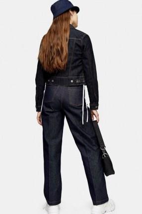 Topshop Indigo Raw Denim Parallel Jeans   stay press detail - flipped