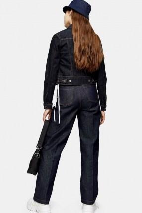 Topshop Indigo Raw Denim Parallel Jeans   stay press detail