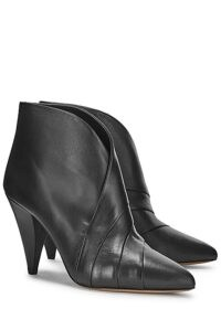 ISABEL MARANT Acna 100 black leather ankle boots ~ cone heel boot ~ pleat detail booties