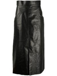 Isabel Marant faux-leather mid-length pencil skirt in black
