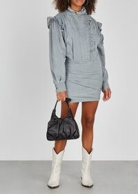 ISABEL MARANT ÉTOILE Greta grey ruffle-trimmed denim mini dress | ruffled dresses | casual boho style