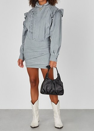 ISABEL MARANT ÉTOILE Greta grey ruffle-trimmed denim mini dress | ruffled dresses | casual boho style - flipped