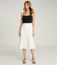 REISS ISABELLA COLOUR BLOCK MIDI DRESS BLACK/WHITE ~ skinny shoulder strap dresses ~ colourblock clothing