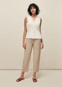WHISTLES LEORA LACE DETAIL TOP / feminine sleeveless tops