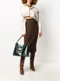 Jacquemus Le Noeud dark green leather tote bag