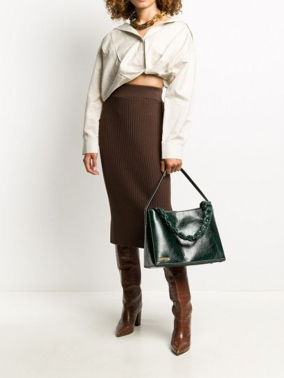 Jacquemus Le Noeud dark green leather tote bag - flipped